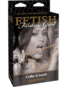 Ошейник «Fetish Gold» с поводком
